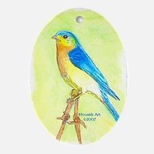 Watercolor Bird Ornament (Oval)