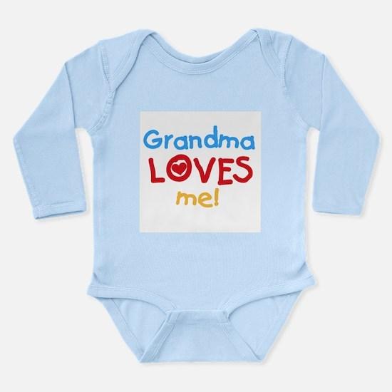Text Grandma Loves Me Long Sleeve Infant Bodysuit