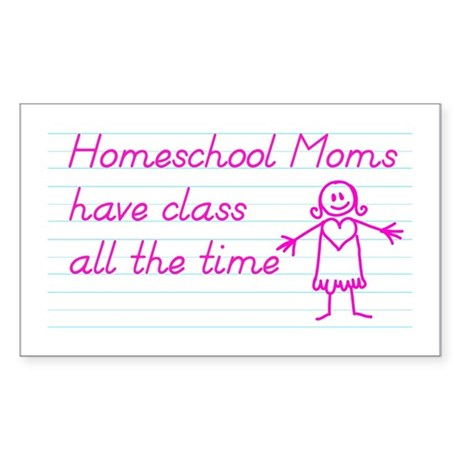 Classy Homeschool Mom Sticker (Rectangle)