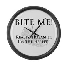 Bite Me - Helper Large Wall Clock
