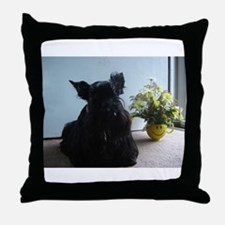 Cute Christmas scotty dog Throw Pillow