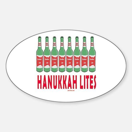 Hanukkah Lights Sticker (Oval)