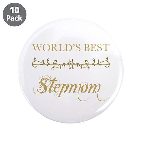 "Elegant World's Best Step Mom 3.5"" Button (10 pack"