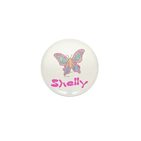 Pink Butterfly Shelly Mini Button (10 pack)