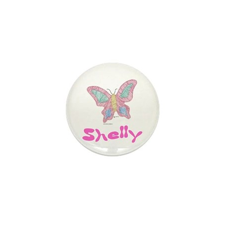 Pink Butterfly Shelly Mini Button
