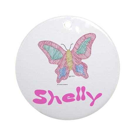 Pink Butterfly Shelly Ornament (Round)