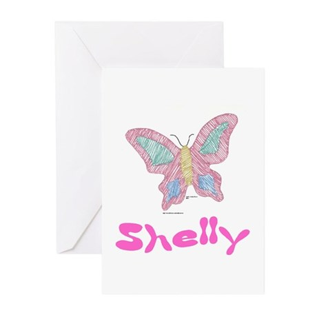 Pink Butterfly Shelly Greeting Cards (Pk of 10