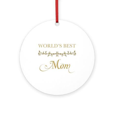 Elegant World's Best Mom Ornament (Round)