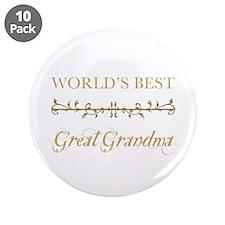 "Elegant World's Best Great Grandma 3.5"" Button (10"