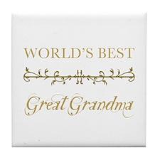 Elegant World's Best Great Grandma Tile Coaster
