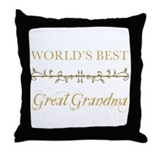 Elegant World's Best Great Grandma Throw Pillow