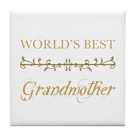 Elegant World's Best Grandmother Tile Coaster