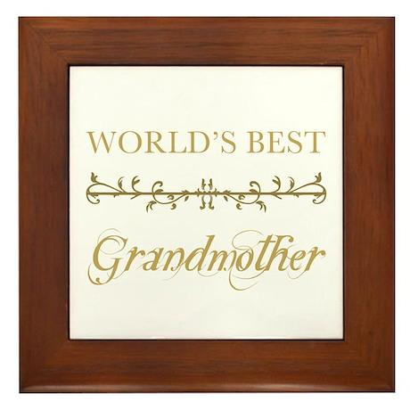 Elegant World's Best Grandmother Framed Tile