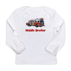 Middle Brother Fire Truck Long Sleeve Infant T-Shi