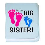 Big Sister Baby Footprints baby blanket