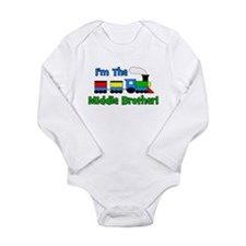 Middle Brother TRAIN Long Sleeve Infant Bodysuit