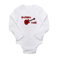 Brothers Rock! Red Guitar Long Sleeve Infant Bodys