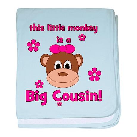 Little Monkey Is Big Cousin! baby blanket