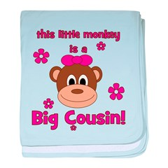 Little Monkey Is Big Cousin! baby blanket