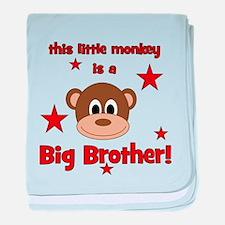 Little Monkey Is Big Brother baby blanket