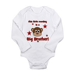 Little Monkey Is Big Brother Long Sleeve Infant Bo