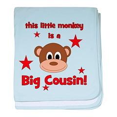 Little Monkey Is Big Cousin baby blanket