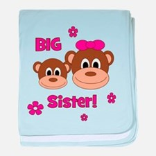 I'm The BIG Sister - Monkey baby blanket