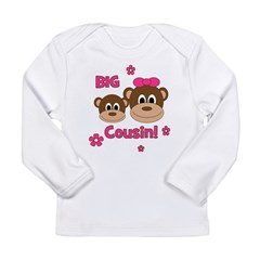 I'm The Big Cousin! Monkey Long Sleeve Infant T-Sh