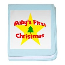 Baby's First Christmas star baby blanket