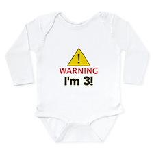 Warning I'm 3 Long Sleeve Infant Bodysuit