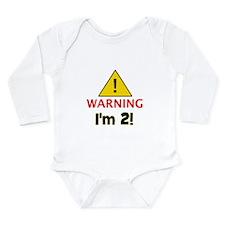 Warning I'm 2 Long Sleeve Infant Bodysuit