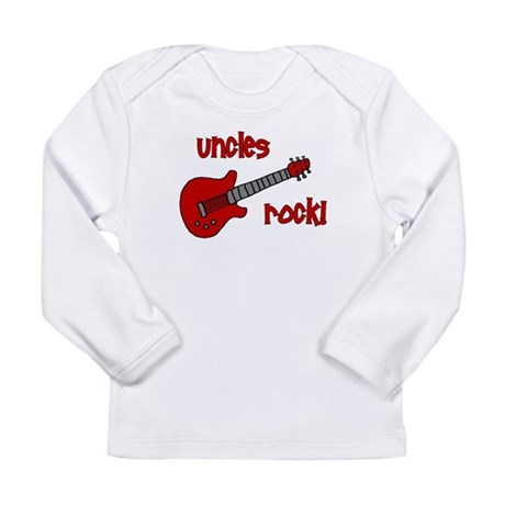 Uncles Rock! Red Guitar Long Sleeve Infant T-Shirt
