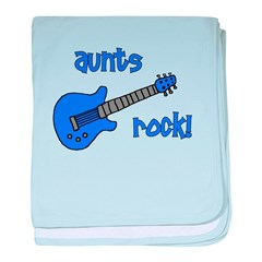 Aunts Rock! Blue Guitar baby blanket