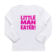 Little Man Eater! Pink Long Sleeve Infant T-Shirt