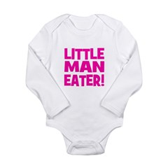Little Man Eater! Pink Long Sleeve Infant Bodysuit