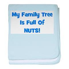Family Tree blue baby blanket