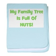 Family Tree green baby blanket