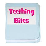 Teething Bites! Pink baby blanket