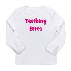 Teething Bites! Pink Long Sleeve Infant T-Shirt