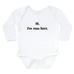 Hi. I'm New Here. (black) Long Sleeve Infant Bodys