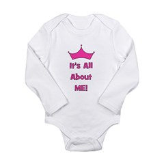 It's All About Me! Pink Long Sleeve Infant Bodysui