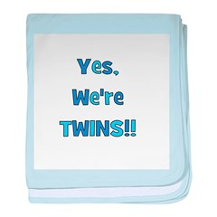 Yes, We're Twins! Blue & Blue baby blanket