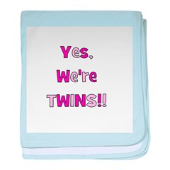 Yes, We're Twins - Pink & Pin baby blanket