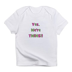 Yes We're Twins! Pink & Green Infant T-Shirt