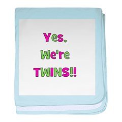 Yes We're Twins! Pink & Green baby blanket