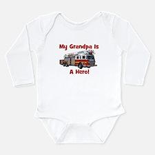 Grandpa Is My Hero FireTruck Long Sleeve Infant Bo