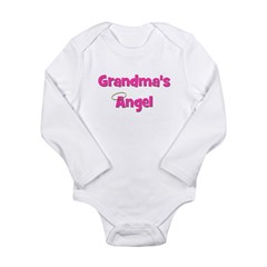 Grandma's Angel - Pink Long Sleeve Infant Bodysuit