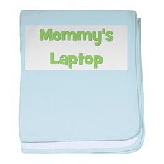 Mommy's Laptop green baby blanket