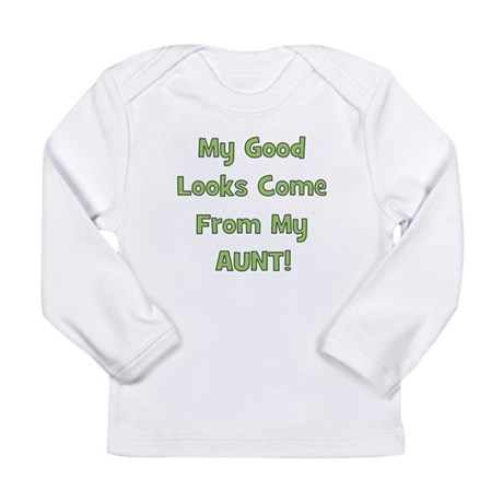 Good Looks From Aunt - Green Long Sleeve Infant T-
