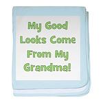 Good Looks From Grandma - Gre baby blanket